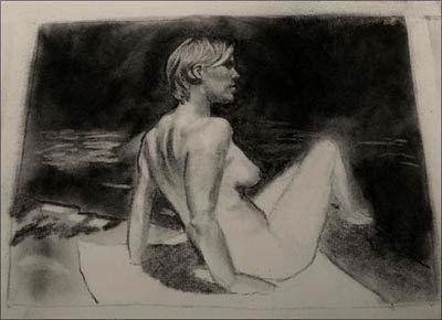 charcoal foreground, art demonstration