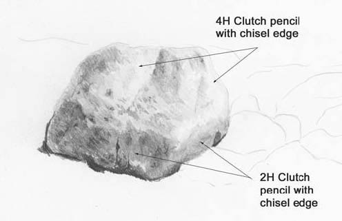 clutch pencil, chisel edge, rock drawing lessons
