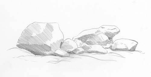 learn to draw rocks, sketching demonstration, free art tutorial, diane wright