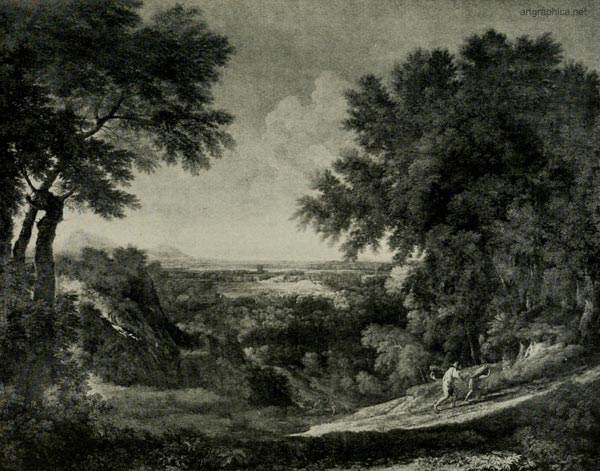 GASPARD POUSSIN, landscape with figures, tree art guide, free drawing lessons