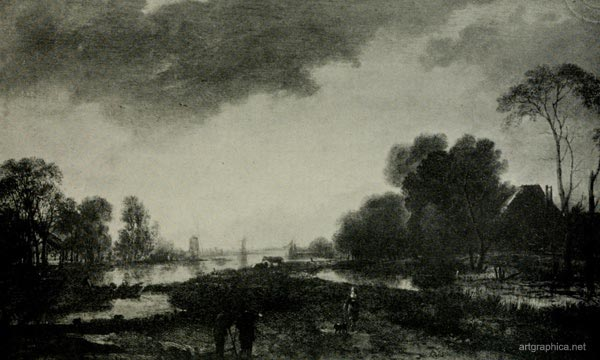 river scene, van der neer, trees and art