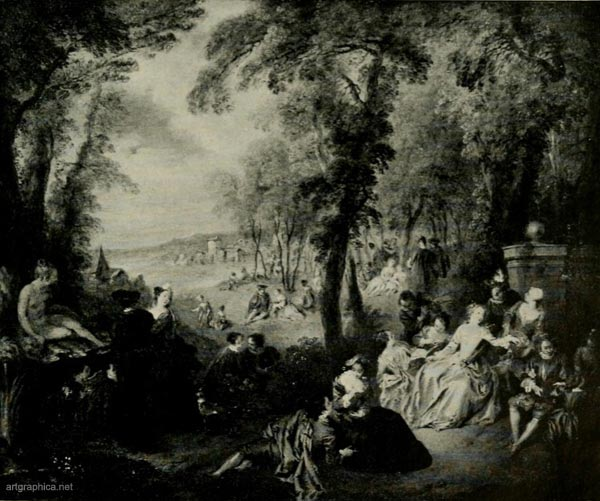 fete in a park, jean baptiste joseph pater, tree drawing, painting trees