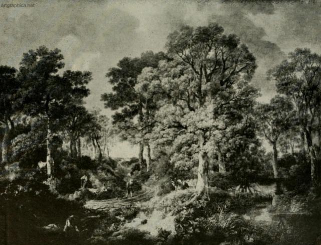 wood scene, village of cornard, suffolk, tree painting