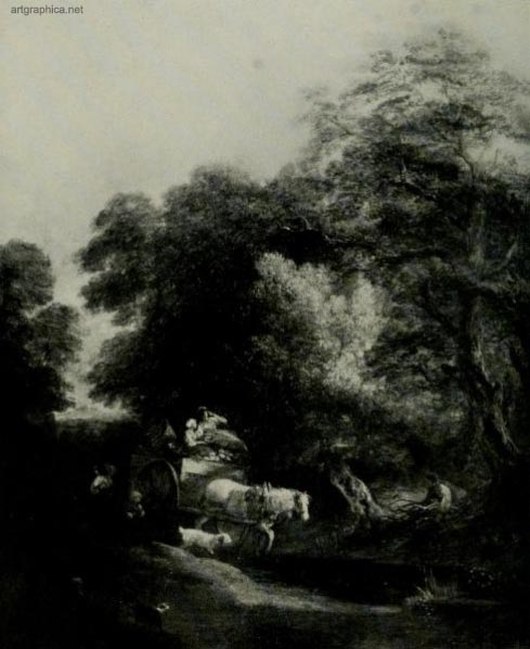 the market cart, gainsborough, trees and art