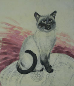 painting the background, oil painting of cat