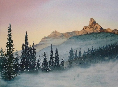 mountain landscape, watercolor lesson, watercolor mountains
