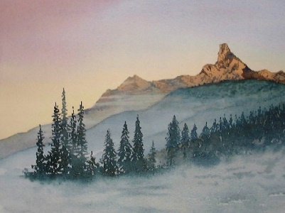 learn to paint mountains, mountain demo