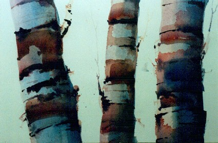 birch tree, watercolour painting lesson