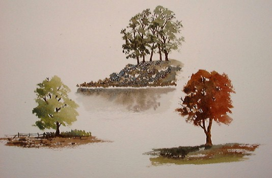 trees in watercolor, free online watercolor demos