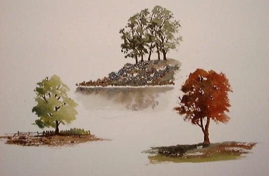 trees in watercolor, free online watercolor demos