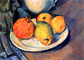 Paul Cezanne, impressionist artist, Still life with Pomegranate and Pears
