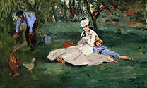 Edouard Manet painting, art canvas, The Monet Family in their garden at Argenteuil