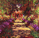 impressionist canvas painting, Path in Monet's Garden, Giverny