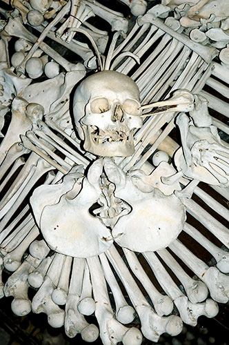 Crown of Bones, sedlec ossuary, bone church, chapel photograph