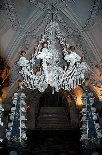 Human Bone Chandelier, sedlec ossuary, bone church, chapel photograph