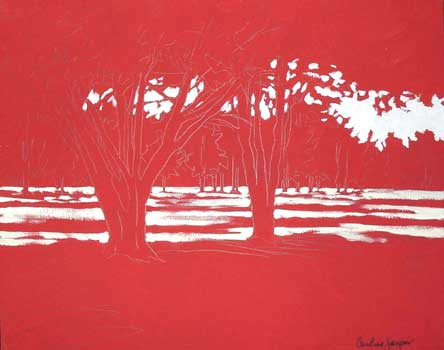 landscape on red ground