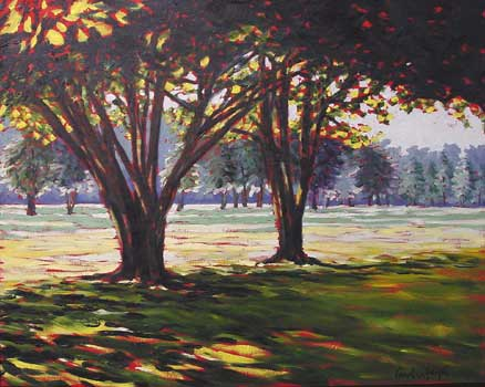 foreground density, viridian, painting tree trunks, oil painting lesson
