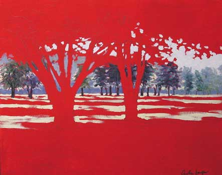 red ground for landscape, tree painting