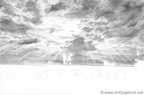 drawing clouds, art lesson online