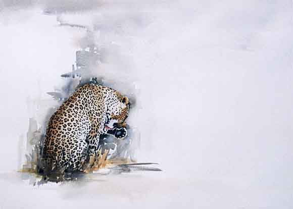 leopard watercolour painting, wildlife art