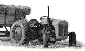 tractor, pencil illustration, mike sibley art