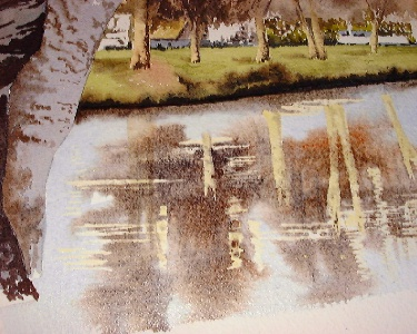 river reflections, trees watercolor