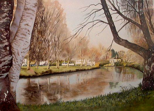 watercolor of christchurch river avon