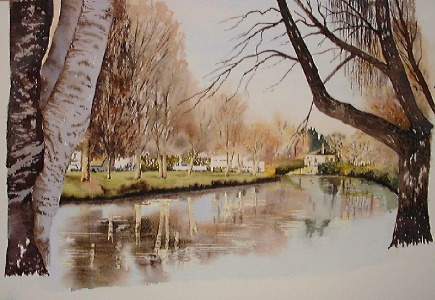 river New Zealand watercolor landscape