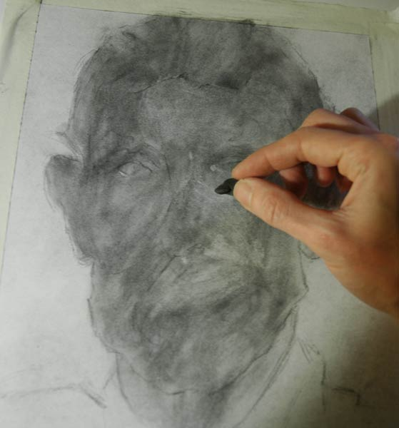 subtractive drawing in charcoal