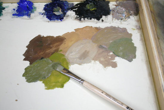 palette, mixing greens, painting in oils