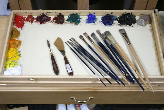 oil painting palette, setting out colors