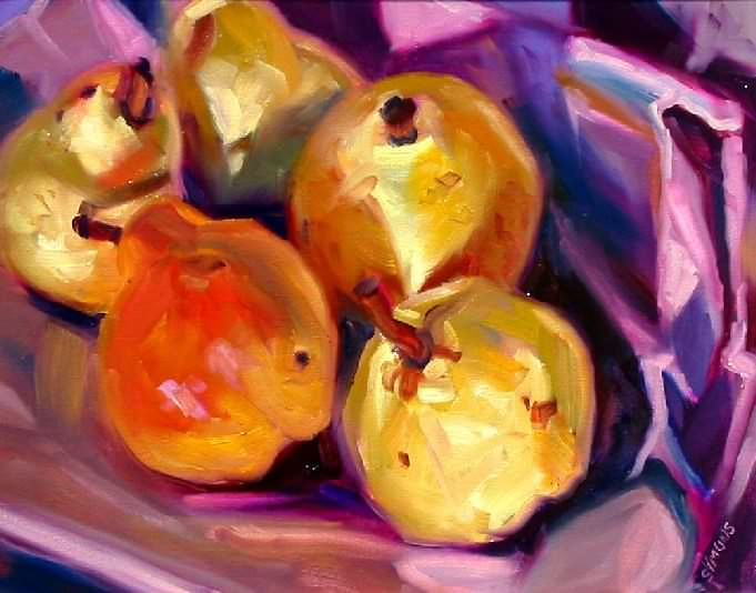 oil painting demo, pears, fruit, oil demonstration