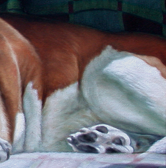 basset hound demonstration, oil painting lesson