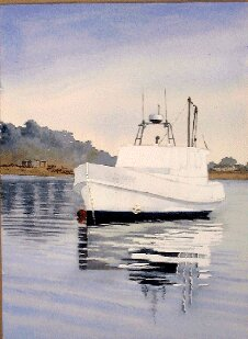 boat painting art, watercolors