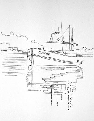 watercolor line drawing, painting a boat