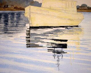 masking fluid, boat painting, water, ripples, waves