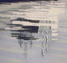 boat reflections, watercolor art