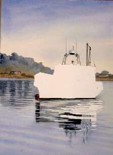 online watercolor lessons, painting a boat