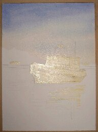 watercolor wash, ultramarine, wet into wet, how to paint a boat
