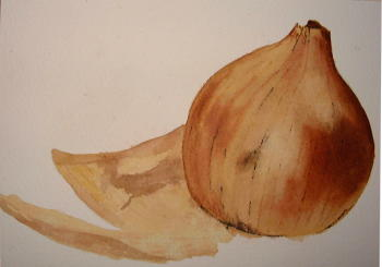 painting of an onion, applying fine lines
