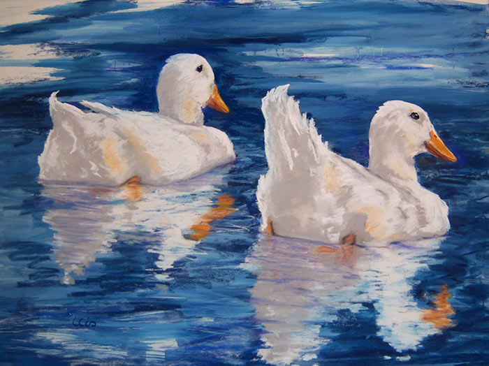 ducks and reflections, pastel painting