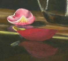 tulipa pétala, aula de pintura acrílico, instrução de arte livre