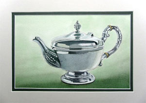 painting metal, silver teapot by john fisher