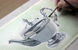 painting metal in watercolours