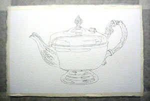 drawing of teapot for painting