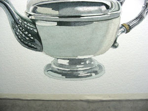 painting metal, silver teapot, watercolour lesson