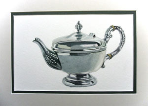 watercolour lesson, painting metal, teapot