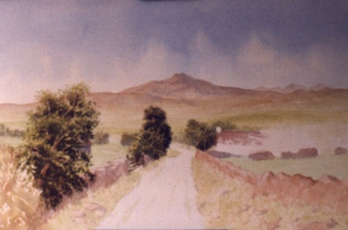 watercolour landscape painting, ireland