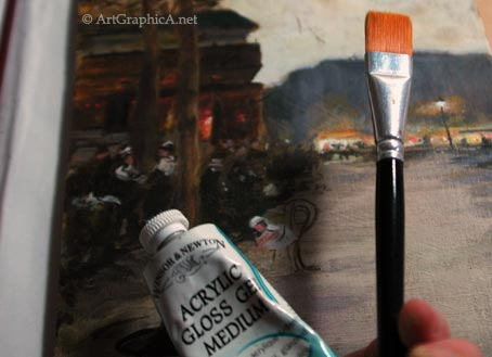varnishing a gouache painting