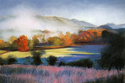 pastel pintura de paisagem